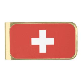 Flag of Switzerland Gold Finish Money Clip