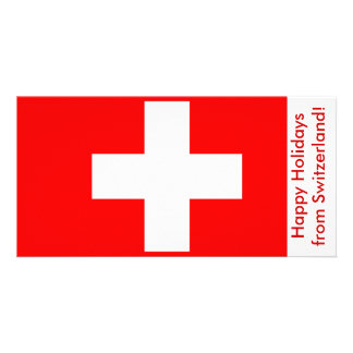 Flag of Switzerland Happy Holidays Picture Card