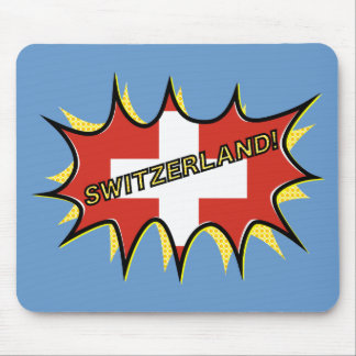 Flag of Switzerland Pow Boom Pop Mouse Pad