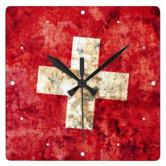 Flag of Switzerland Square Wall Clock