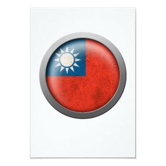 Flag of Taiwan Disc 3.5x5 Paper Invitation Card