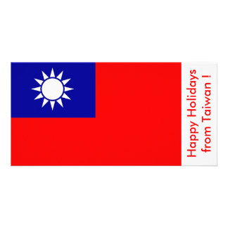 Flag of Taiwan Happy Holidays from Taiwan Personalized Photo Card