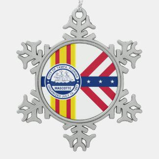 Flag of Tampa, Florida Snowflake Pewter Christmas Ornament