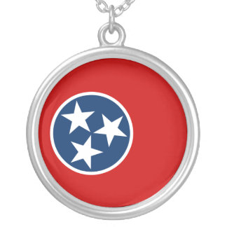 Flag of Tennessee Round Pendant Necklace