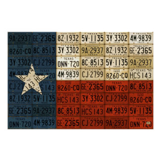 Flag of Texas Lone Star State License Plate Art Poster