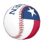 Flag of Texas State with Customizable Name Baseball