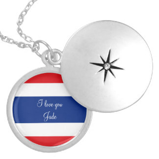 Flag of Thailand Silver Plated Necklace
