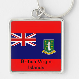 Flag of the British Virgin Islands Silver-Colored Square Keychain