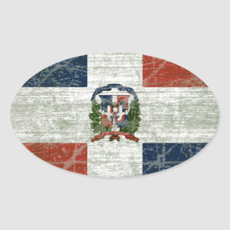 FLAG OF THE DOMINICAN REPUBLIC OVAL STICKER