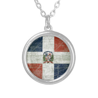 FLAG OF THE DOMINICAN REPUBLIC SILVER PLATED NECKLACE