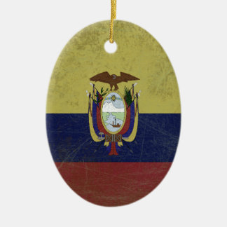 Flag of the equator Double-Sided oval ceramic christmas ornament