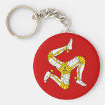 Flag of  the Isle of Man Basic Round Button Keychain
