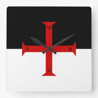 Flag of the Knights Templar Square Wall Clock