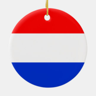 Flag of the Netherlands Double-Sided Ceramic Round Christmas Ornament