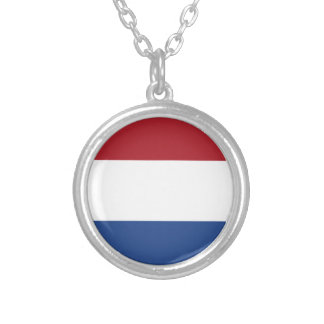 Flag of the of the Netherlands Round Pendant Necklace