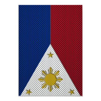 Flag of The Philippines with Carbon Fiber Effect Card