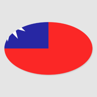 Flag of the Republic of China (Taiwan) - 中華民國國旗 Oval Sticker