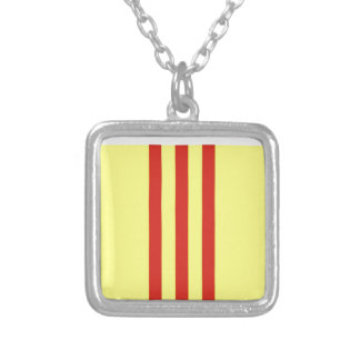 Flag of the Republic of Vietnam  Cờ vàng ba sọc đỏ Silver Plated Necklace