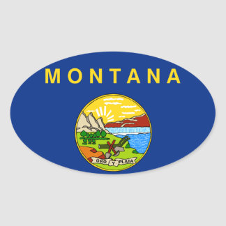 Flag of the State of Montana Oval Sticker