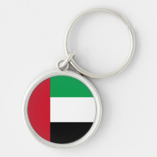 Flag of the United Arab Emirates Silver-Colored Round Keychain