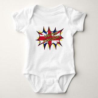 Flag of The United Kingdom KAPOW star burst Baby Bodysuit