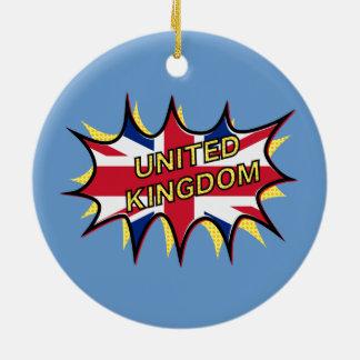 "Flag of The United Kingdom ""KAPOW"" starburst Ornaments"