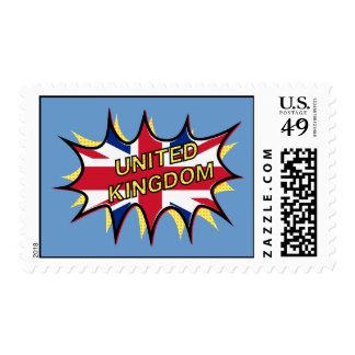 "Flag of The United Kingdom ""KAPOW"" starburst Postage"