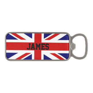Flag of the United Kingdom the Union Jack Monogram Magnetic Bottle Opener