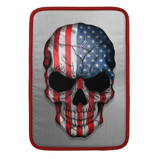 Flag of The United States on a Steel Skull Graphic Sleeves For MacBook Air