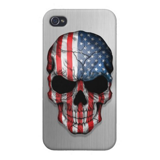 Flag of The United States on a Steel Skull Graphic iPhone 4/4S Case