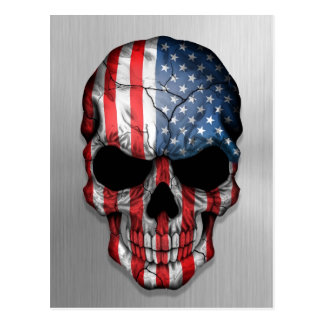 Flag of The United States on a Steel Skull Graphic Postcard