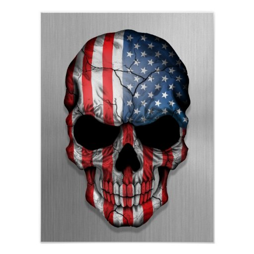 Flag of The United States on a Steel Skull Graphic Poster