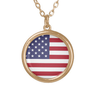 Flag of the United States Round Pendant Necklace