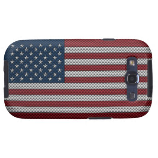 Flag of The United States with Carbon Fiber Effect Samsung Galaxy SIII Cover