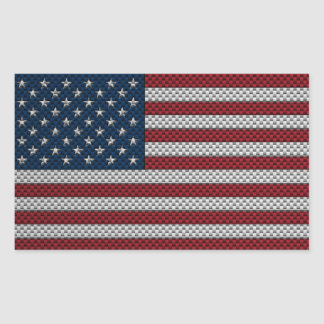 Flag of The United States with Carbon Fiber Effect Rectangular Sticker