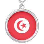 Flag of Tunisia Round Pendant Necklace