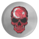 Flag of Turkey on a Steel Skull Graphic Party Plate