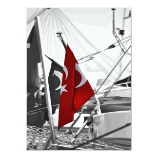 Flag of Turkey - Selective Coloring 5.5x7.5 Paper Invitation Card