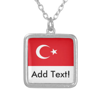 Flag of Turkey Silver Plated Necklace