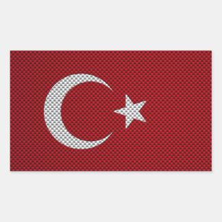 Flag of Turkey with Carbon Fiber Effect Rectangular Sticker