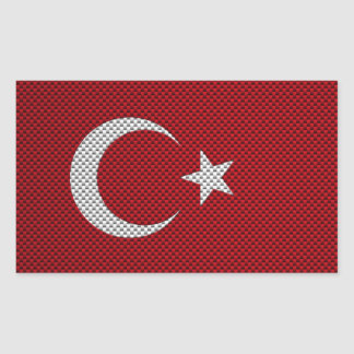 Flag of Turkey with Carbon Fiber Effect Rectangle Sticker