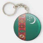 Flag of Turkmenistan Basic Round Button Keychain