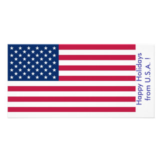 Flag of U.S.A., Happy Holidays from U.S.A. Card