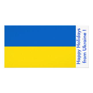 Flag of Ukraine Happy Holidays from Ukraine Customized Photo Card