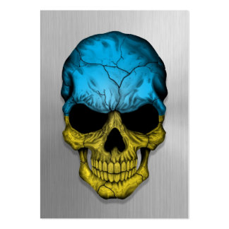 Flag of Ukraine on a Steel Skull Graphic Business Card