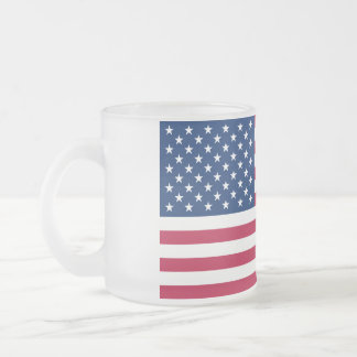Flag of United States of American Frosted Glass Coffee Mug