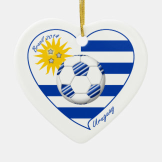 Flag of URUGUAY SOCCER champions of world 2014 Ceramic Ornament