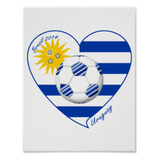 Flag of URUGUAY SOCCER champions of world 2014 Poster
