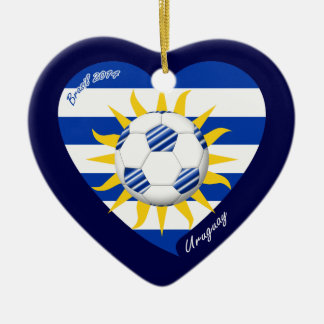 Flag of URUGUAY SOCCER national team 2014 Ceramic Ornament