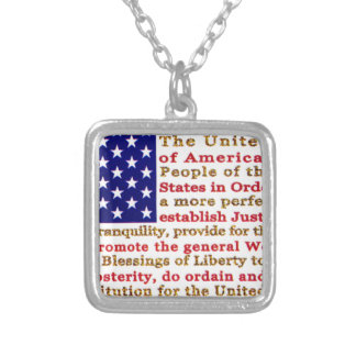 Flag Of USA American With Words the Constitution Jewelry